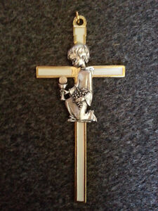 Communion white & gold cross with child
