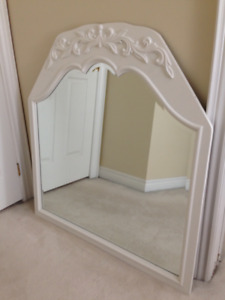 LARGE ANTIQUE WOOD Frame SCALLOPED BEVELLED Glass Mirror