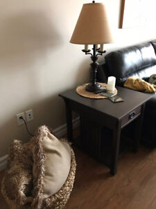 Solid ash coffee table and 2 end tables
