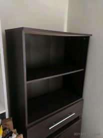 Dark brown veneer cabinet with a drawer