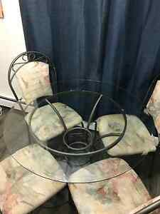 ***URGENT*** glass top dining table + 4 chairs