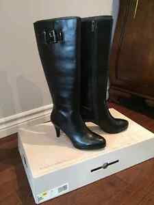 Brand New - Bandolino Black real leather boots -size 6