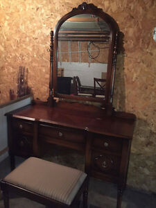 Large Solid Wood Antique Dressing Table & Stool