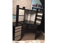 Ikea Micke black white corner workstation desk