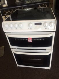 White cannon 60cm ceramic hub electric cooker grill & fan oven good condition with guarantee bargain