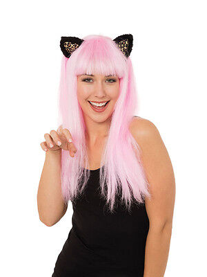 Halloween Costumes With Pink Wigs (Ladies Long Pink Wig With Cat Ears Fancy Dress Accessory Prop Adult)
