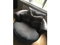 Grey and sliver corner sofa with swirl chair x