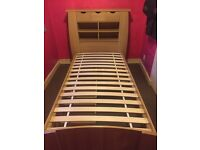 Single bed with headboard storage and under bed drawers