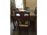 Dining table with matching coffee table and 2 lamp tables
