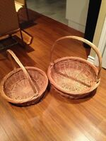 2 Wood Woven Baskets