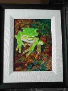 """Original Matted & Framed Canvas Tree Frog Painting (23""""x19"""")"""
