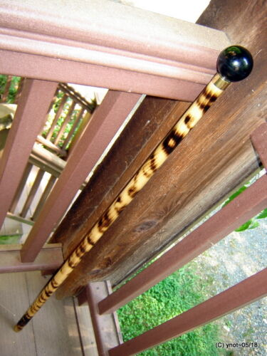 antique Slot Machine knob SHILLELAGH walking-stick cane~scorched hardwood~gift