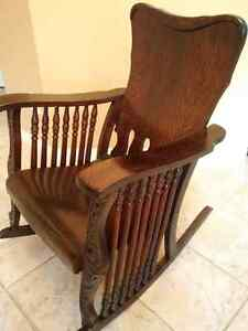 Antique Oak - 7 Spindle Rocking Chair Kitchener / Waterloo Kitchener Area image 6