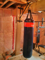 Home gym, heavy bag w/stand, abs bench, pull ups bar