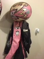 Joe Rocket motorcycle jacket.  Helmet is Zox