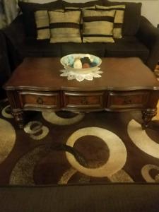 brown real oak wood coffee table