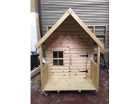 Top Quallity Childrens Timber Playhouse 4ft wide x 4ft Deep x 5ft High To Apex