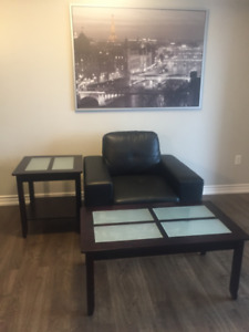 Leather sofa chair ,coffee table & end table for sale
