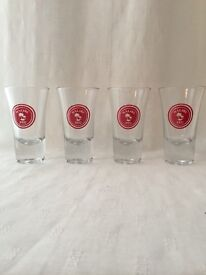 Set of 12 Malibu Red shot glasses