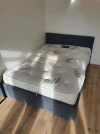 Double bed with memory foam topped mattress