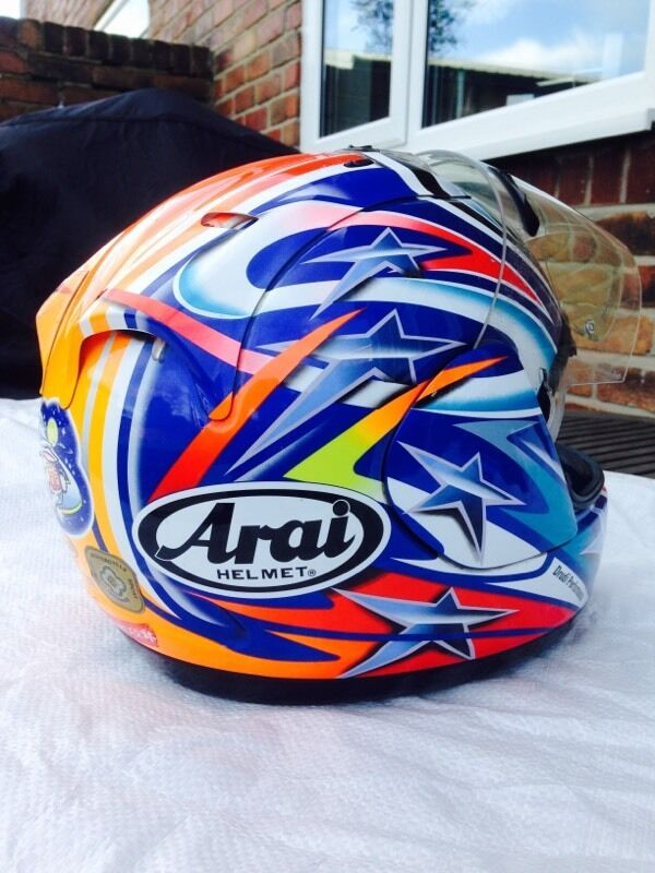 arai rx7 corsair race rep motorcycle helmet used size small 55 56cm in ashington