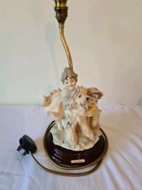 Capodimonte B Merli Figurine Lamp Florence Children with Dog