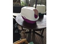 Cat litter try with hood