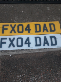 PRESENT FOR DAD FX04DAD PRIVATE REGISTRATION PLATE ON RETENTION