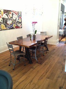 Industrial Table and Metal Chair Set