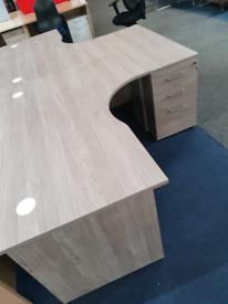Grey Wood Corner Desk and Drawer bundle deals, huge Glasgow Showroom