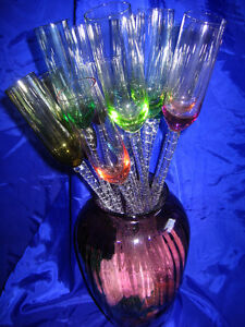 Set of 12 Long Stem Hand Blown Champagne Flutes-Multi-Coloured