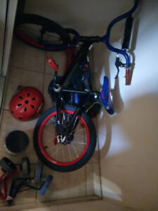 Kids Bicycle with Training Wheels and a Helmet