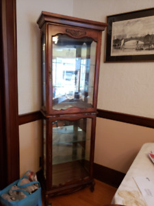 Lighted Glass and Wood Curio Cabinet