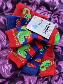 6 Pairs of Dinosaur Socks - Age 3-5 years - Brand New