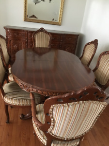 Italian provincial dining set and buffet