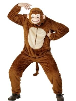 Adult's Monkey Costume Animal Fancy Dress Ladies Mens Funny Outfit (Mens Monkey Costume)