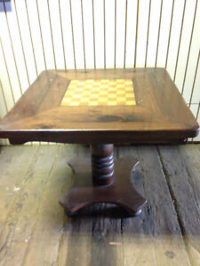 RARE Vintage Antique GAME TABLE Chess Checkerboard wood $500