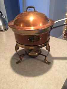 Copper clad fondue pot, with double boiler and alcohol burner