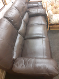 Leather double recliner 3 seater sofa