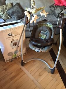 Swing, high chair and exersaucer