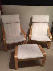 2 Poang Chairs and 1 Ottoman
