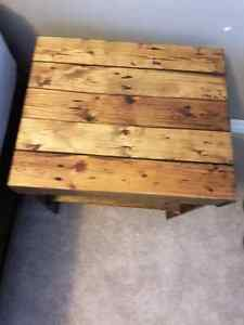 2 end tables and coffee tables made out of pallets