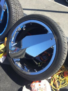 """24"""" CHROME RIMS AND NEW TIRES 295-35-24 5X139.7 5X115"""