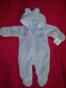 Carter's Baby Boys Blue 1pc Snowsuit For CarSeat 3mts NEW