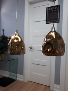 Two New Modern Pendant Lights with Golden Glass Shades -$40 both