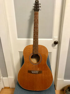 Seagull S6 Folk acoustic guitar, with hard case and stand