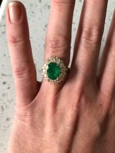 3.50 CT NATURAL EMERALD & DIAMOND ENGAGEMENT RING