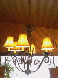 Wrought Iron and Leather Chandelier