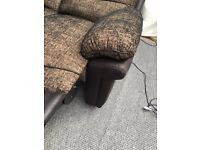 Dfs fabric & leather recliner sofa set in black and gold