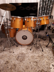 Pearl 7 pc. Maple drums (made in Japan!). Sabian cymbals